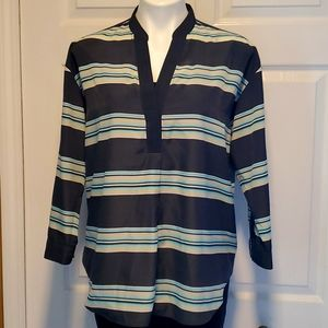 GAP Designed & Crafted Split Neck Women's Charcoal Striped Long Sleeve - Small